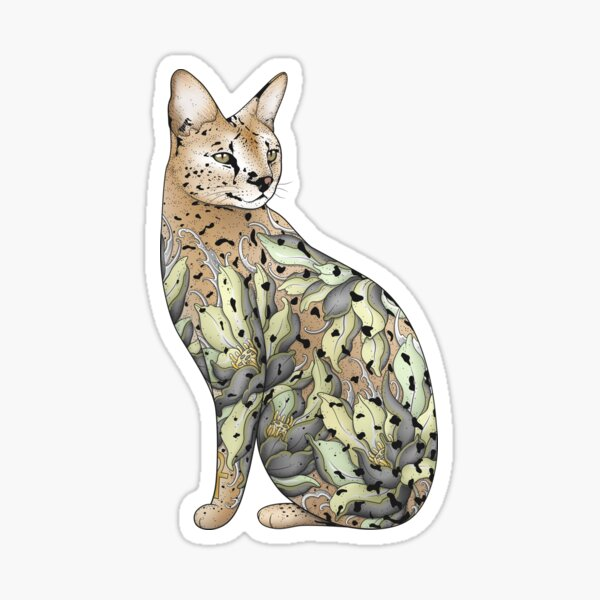 Serval Cat in Lotus Flower Tattoo Sticker