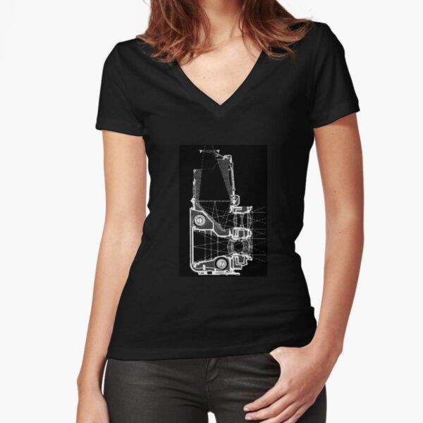 DESSIN TECHNIQUE black T-shirt moulant col V