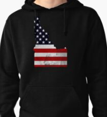 IDAHO STATE  USA FLAG DISTRESSED Pullover Hoodie