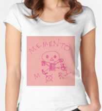 Memento Mori Drawing on Post-It  Women's Fitted Scoop T-Shirt