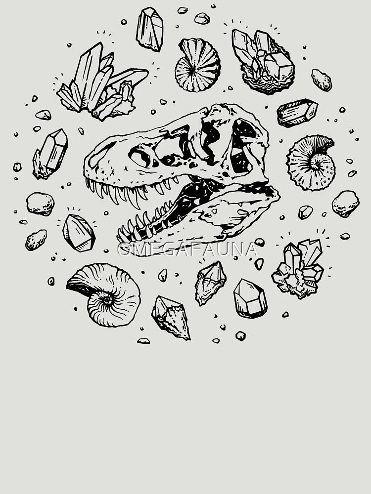Geo-rex Vortex   Black   Dinosaur Fossil Art by OMEGAFAUNA