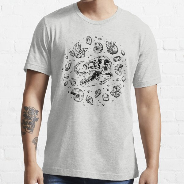Geo-rex Vortex | Black | Dinosaur Fossil Art Essential T-Shirt