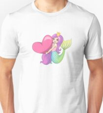 Mermaid Princess With Heart Unisex T-Shirt