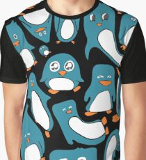 Petrol Colored Penguin Party Graphic T-Shirt