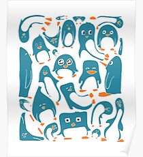 Petrol Colored Penguin Party Poster