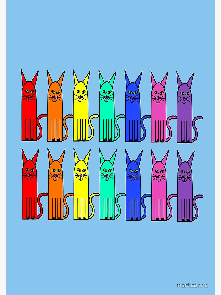 Crazy colour rainbow cats by martisanne