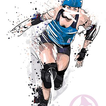 Roller Derby Girl Sports Illustration by georgiagoddard