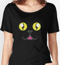 Black Kitty Face Women's Relaxed Fit T-Shirt