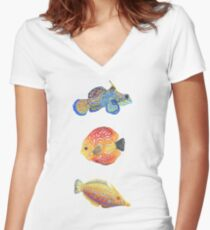 Water Colors Fitted V-Neck T-Shirt