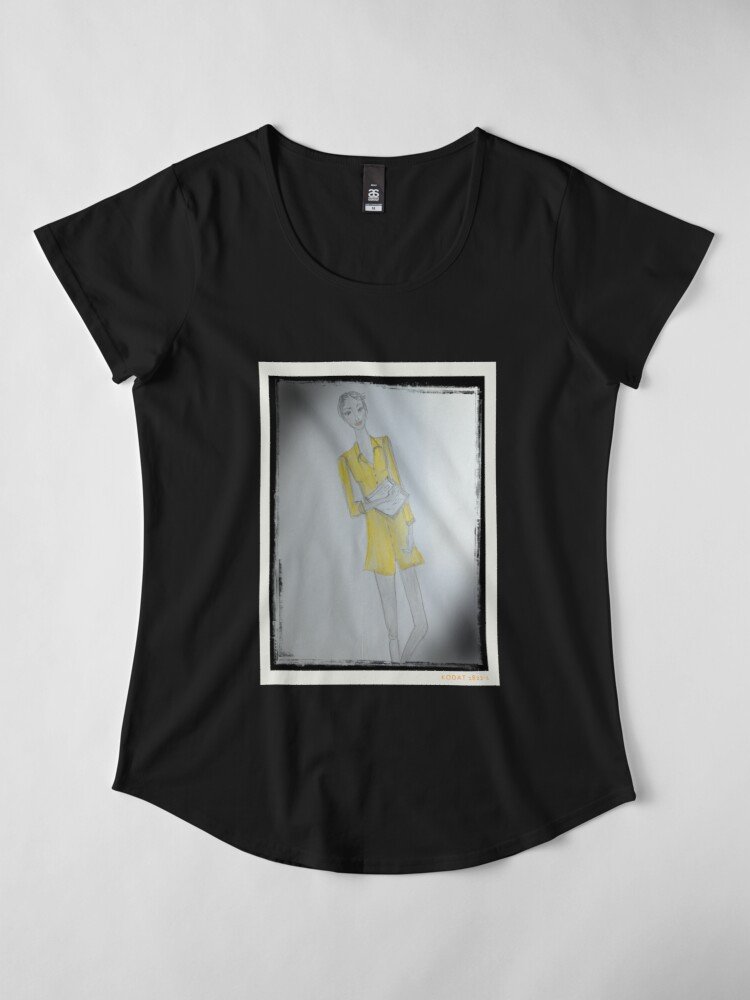 Alternate view of Girl Wearing A Yellow Shirt Dress (Fashion Illustration) Premium Scoop T-Shirt
