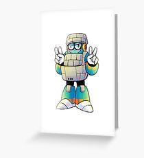 Block Man Greeting Card