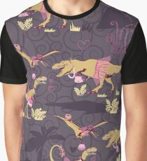 The original seamless pattern with dinosaur princesses Graphic T-Shirt