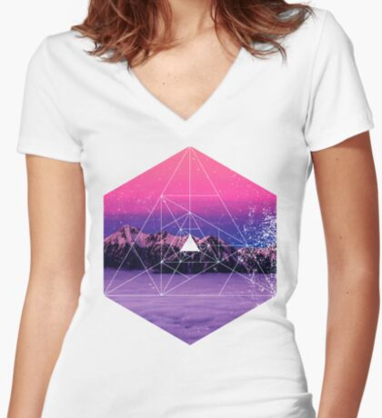 Nature and Geometry - Mountains and Constellations Women's Fitted V-Neck T-Shirt
