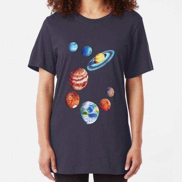 Watercolor Planets Slim Fit T-Shirt