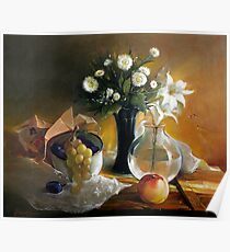 Still life with peach Poster