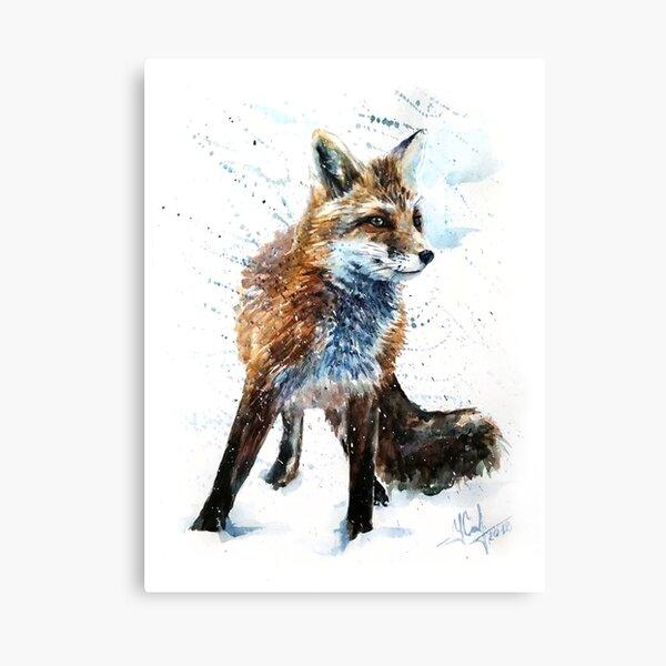 Fox, animals, watercolor, wild, illustration, wildlife, kostart Canvas Print