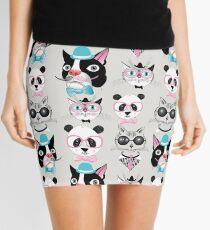 pattern of retro hipster animal portraits  Mini Skirt
