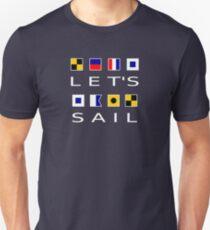 Let's Sail Colorful Nautical Flags Dark Color Unisex T-Shirt