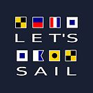 Let's Sail Colorful Nautical Flags Dark Color by TinyStarAmerica