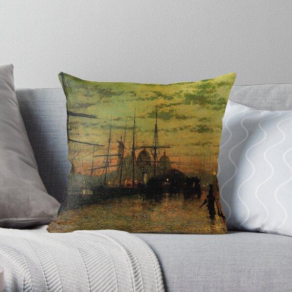 John Atkinson Grimshaw - Humber Docks, Hull Throw Pillow