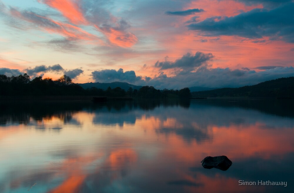 Sunset over Esthwaite by Simon Hathaway