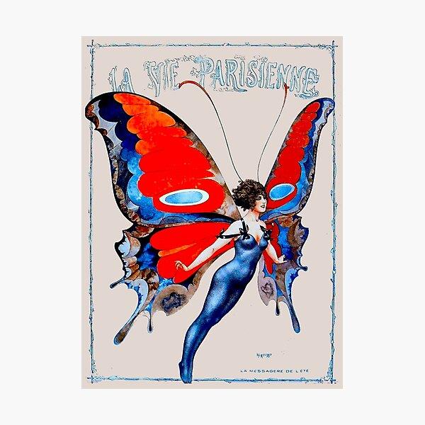 LA VIE PARISIENNE : Vintage Butterfly Girl Print Photographic Print