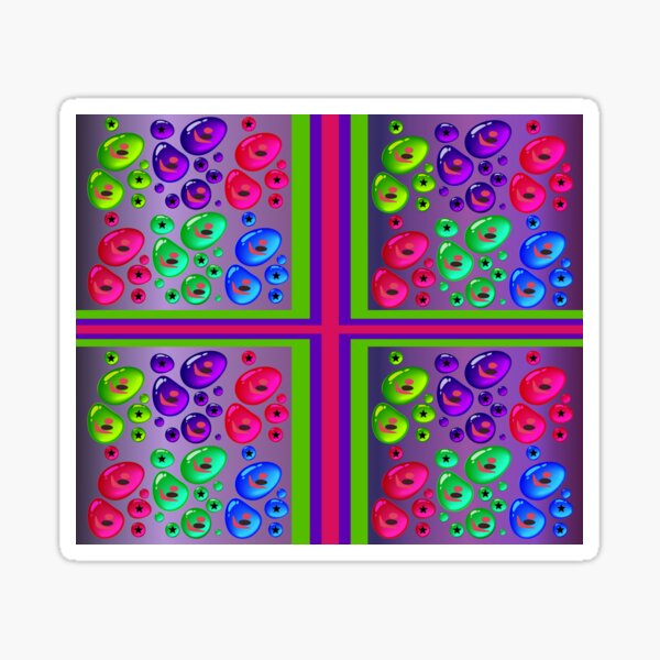 Very Colorful Patterned Print Design Sticker
