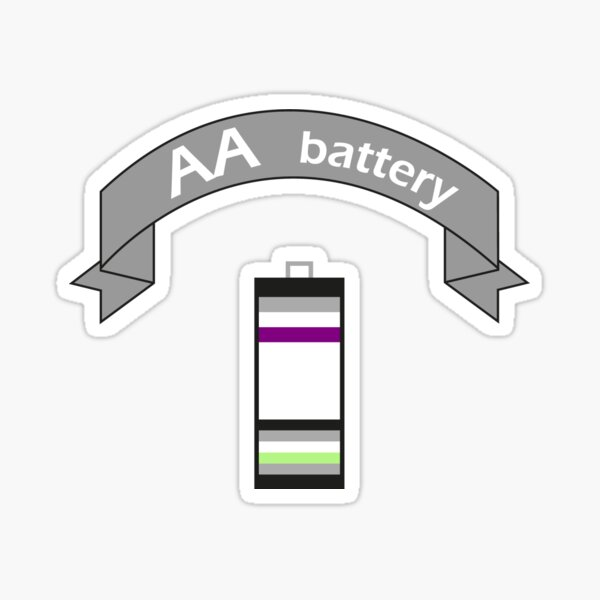 Double A Battery (Asexual & Agender) Sticker
