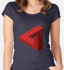 Escher Toy Bricks - Red Women's Fitted Scoop T-Shirt