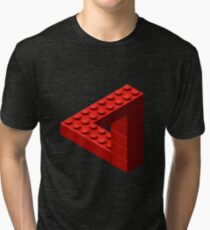 Escher Toy Bricks - Red Tri-blend T-Shirt