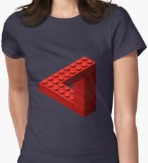 Escher Toy Bricks - Red Women's Fitted T-Shirt