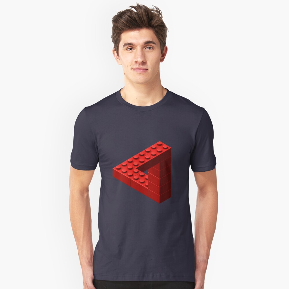 Escher Toy Bricks - Red Unisex T-Shirt Front