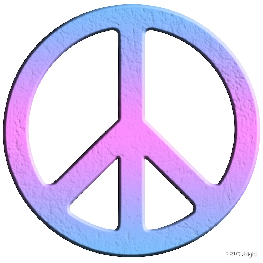 quotgender peace sign blue pink purplequot by 321outright