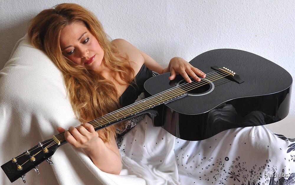 Woman and Black Guitar Portrait by Daidalos