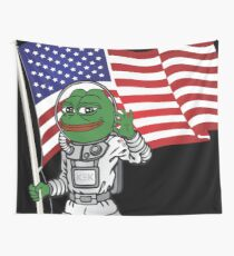 Pepe the Frog US Space Force Kekistan  Rare Astronaut Pepe United States MAGA HD HIGH QUALITY ONLINE STORE Wall Tapestry