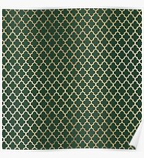 Forest green faux gold stylish moroccan quatrefoil Poster