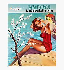 Mallorca, island of everlasting spring, vintage travel poster Photographic Print