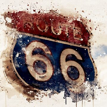 Route 66 Road Sign Watercolor by TinaGraphics