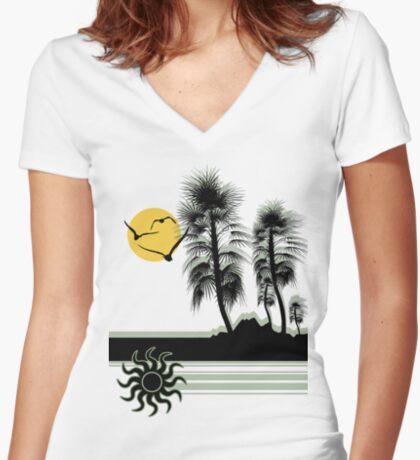 Desertia Women's Fitted V-Neck T-Shirt