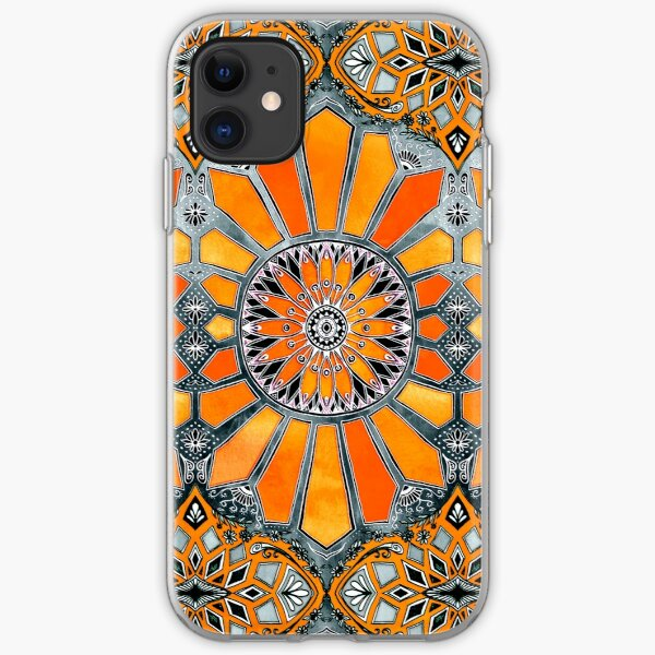 Celebrating the 70's - tangerine orange watercolor on grey iPhone Soft Case