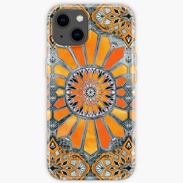 Celebrating the 70's - tangerine orange watercolor on grey iPhone Soft Case