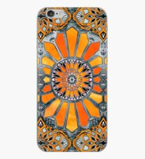 9a7a5958361c8e Celebrating the 70's - tangerine orange watercolor on grey iPhone Case