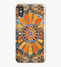 Celebrating the 70's - tangerine orange watercolor on grey iPhone Case