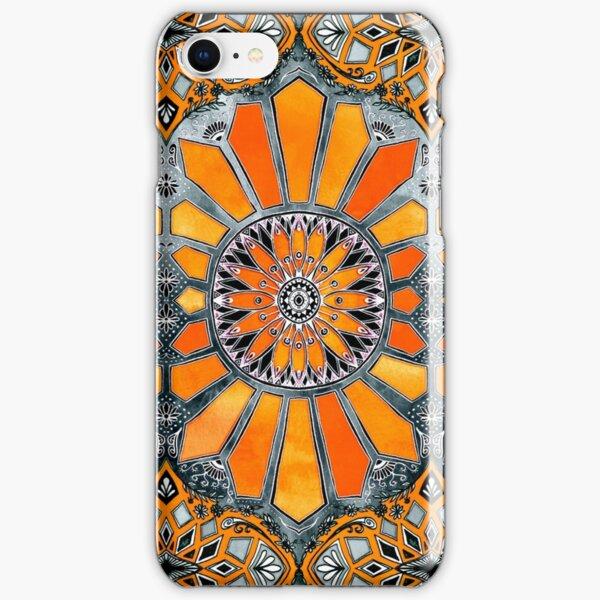 Celebrating the 70's - tangerine orange watercolor on grey iPhone Snap Case