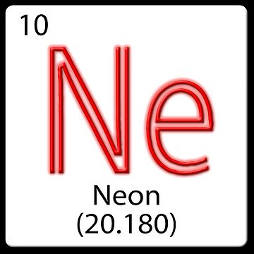 Chemical element tile. Ne Neon Red neon light effect.  by stuwdamdorp
