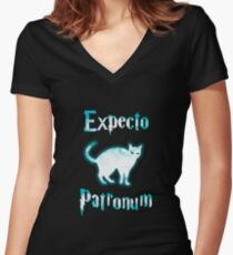 Expecto Patronum Cat. Women's Fitted V-Neck T-Shirt