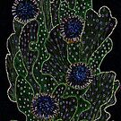 Blooming Cactus, Black and Neon, Floral Art by clipsocallipso