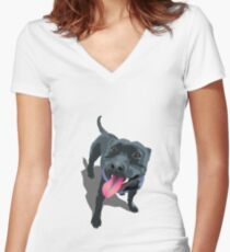 Staffy Women's Fitted V-Neck T-Shirt