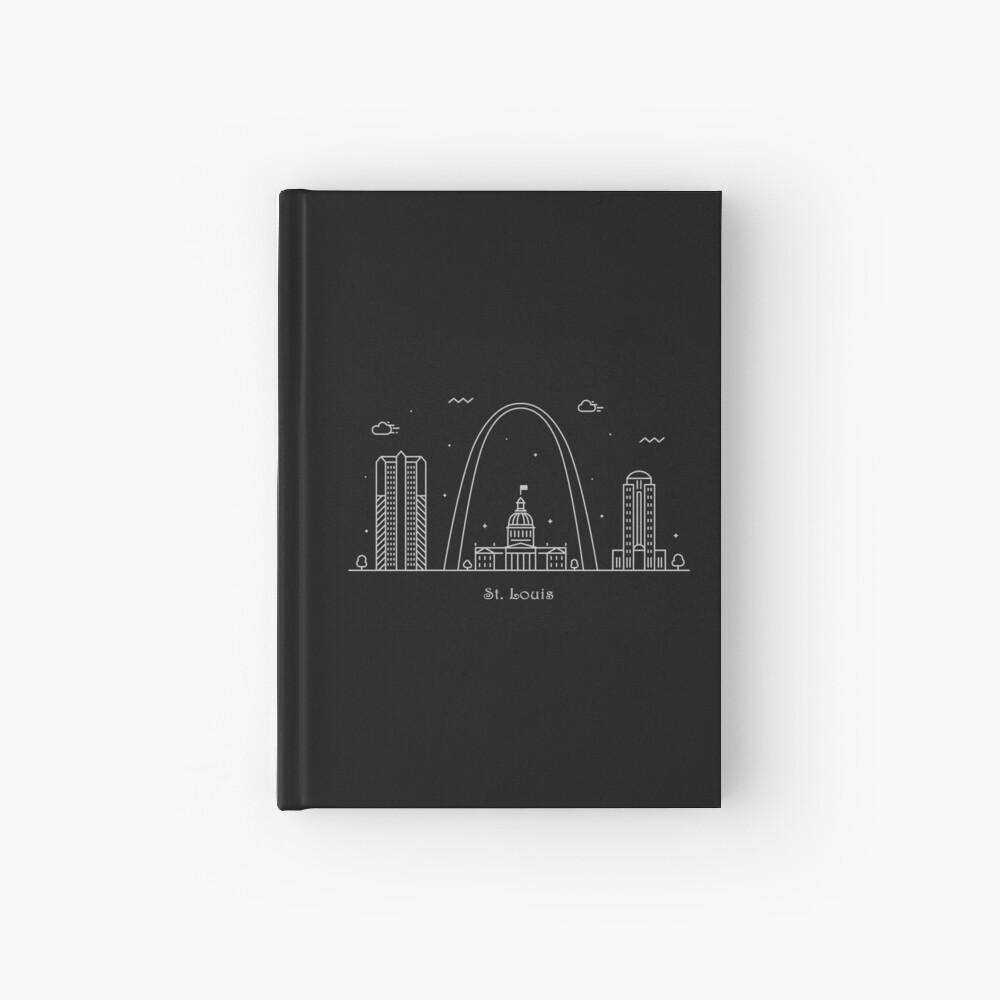 Cartel de arte de línea mínima de St. Louis Skyline Cuaderno de tapa dura