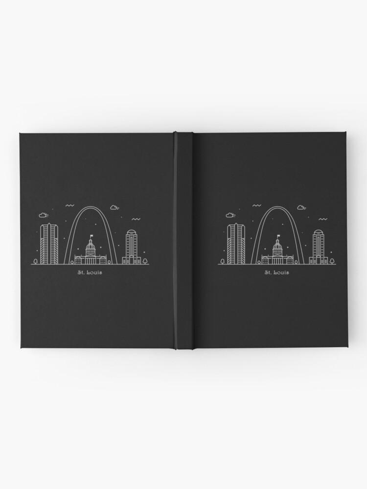 Vista alternativa de Cuaderno de tapa dura Cartel de arte de línea mínima de St. Louis Skyline